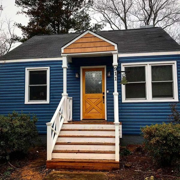 New blue siding on house in Tennessee
