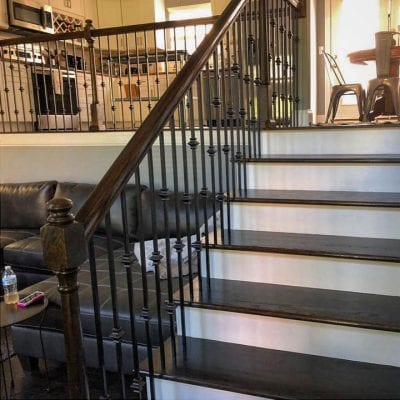 After staining a staircase and handrail