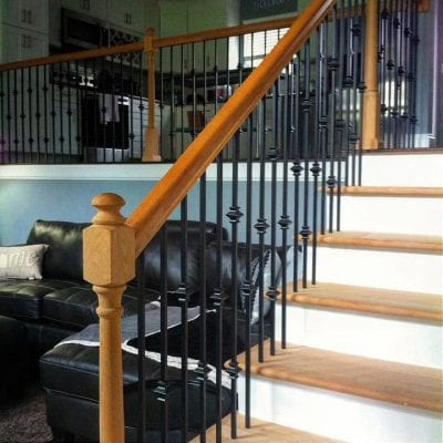 Before staining staircase and handrail