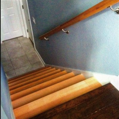 Before staining a staircase the same color as the floor