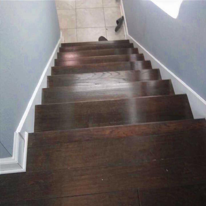Stain a staircase dark brown