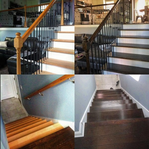 2 staircases successfully stained